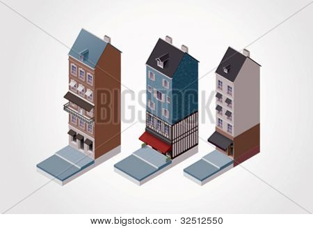 Vector isometric old buildings. Part 2