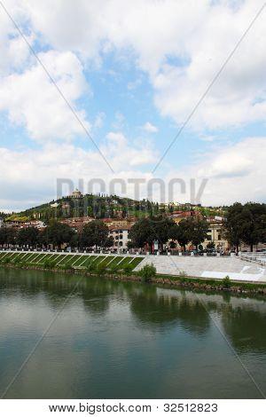 Hill Of Verona Along The River Adige, Italy