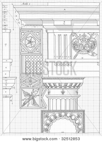 "Blueprint - hand draw sketch doric architectural order based ""The Five Orders of Architecture"" is a book on architecture by Giacomo Barozzi da Vignola from 1593. Bitmap copy my vector"