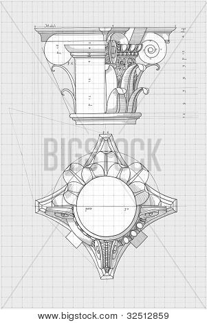 "Blueprint - chapiter- hand draw sketch composite architectural order based ""The Five Orders of Architecture"" is a book on architecture by Giacomo Barozzi da Vignola from 1593. Bitmap copy my vector"