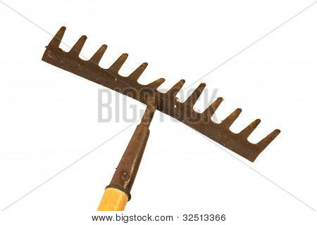 Old And Rusty Garden Rake.