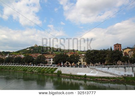 Hill Of Verona Along The River Adige, Italy