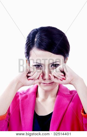 Businesswoman Crying Isolated On White
