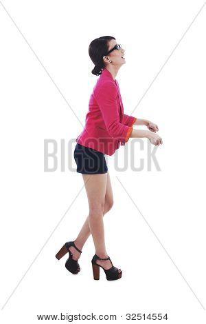 Businesswoman Push Something
