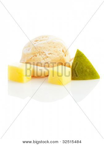 ice cream ball with pieces of mango isolated on white background