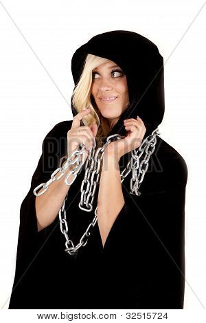 Woman Cloak Chain Look Side