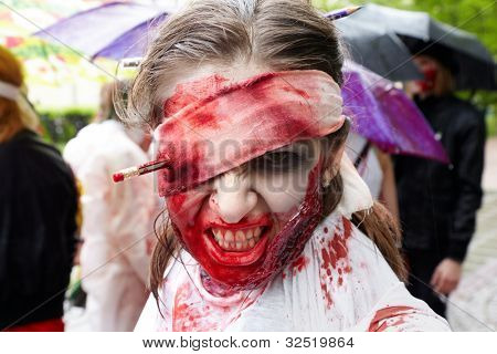MOSCOW - MAY 14: Unidentified participant of zombie parade on Old Arbat, May 14, 2011, Moscow, Russia.