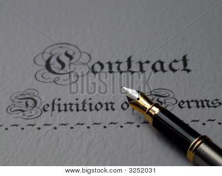 Contract Document With A Nibbed Pen