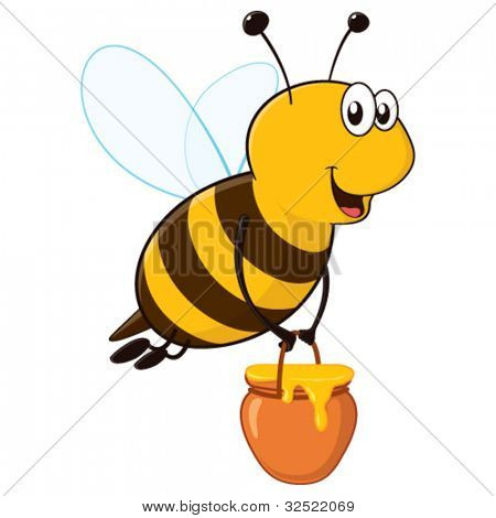 Vector happy cartoon bee flying around with a brimful jar of delicious honey