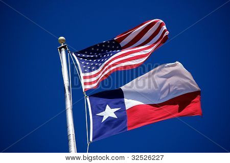 Flags Of America And Texas