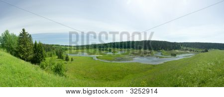 Flood Of The River. Summer Landscape. Panorama.