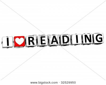3D Love Reading Button Cube Text