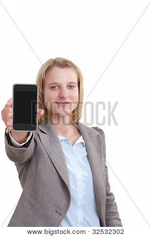 Woman shows a mobile phone