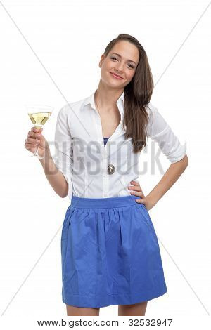 Cute woman with a glass of champagne