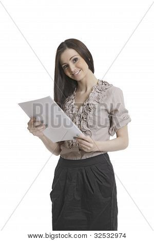 Beautiful business assistant with documents