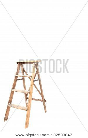 Old Wooden Ladder Isolated On White Background