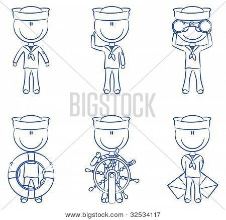 Set Of Cute Sailors