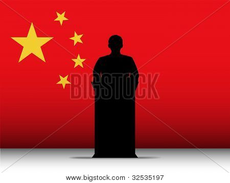 China Speech Tribune Silhouette With Flag Background