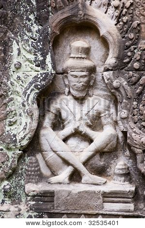 Praying Ascetic carving, Preah Khan temple, Angkor, Cambodia
