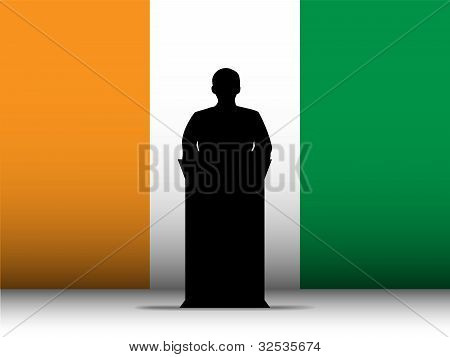 Ireland Speech Tribune Silhouette With Flag Background
