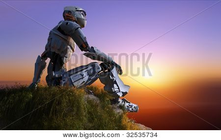 Silhouette of cyborg in a landscape
