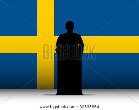 Sweden Speech Tribune Silhouette With Flag Background