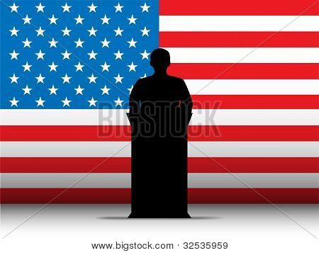 Vereinigte Staaten von Amerika Usa Rede Tribune Silhouette mit Flagge Hintergrund