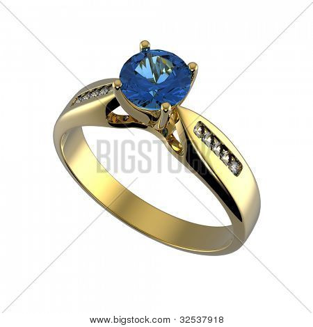 Ring with round blue gemstone isolated on white background. Benitoit. Sapphire. Iolite.Tanzanite