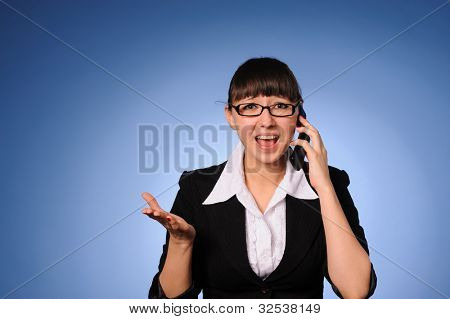 A beauty business woman calling by cell phone