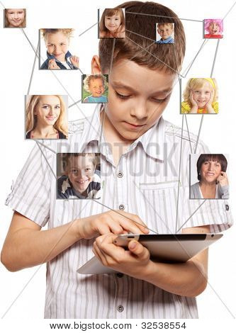 Kids in social network. Child looks to the tablet computer. Social group, technology