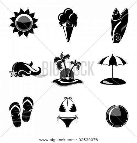 Set silhouette of beach icons .