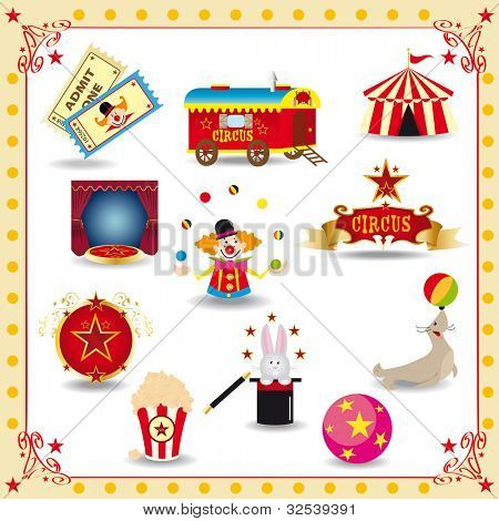 Funny circus icons. fun circus icons for you.