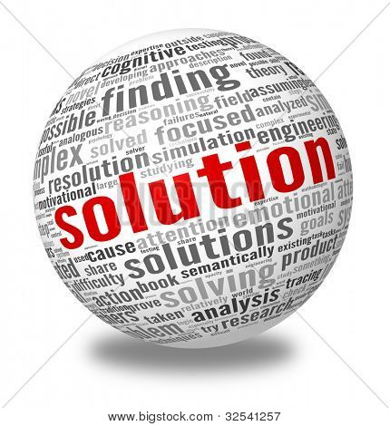Solution concept in word tag cloud on sphere, 3d render