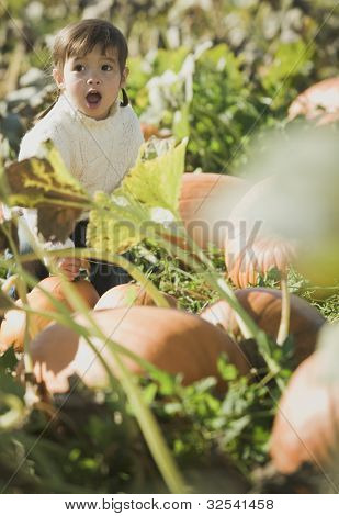 Asian girl sitting in pumpkin patch