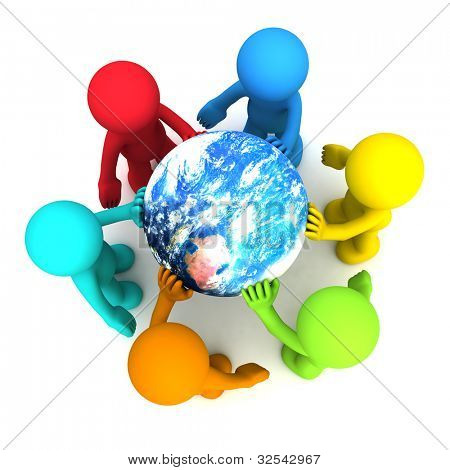 Six 3D human character hollding planet earth isolated on white. Elements of this image furnished by NASA
