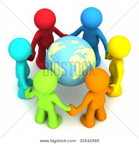 Six 3D human character hollding hands around the planet earth