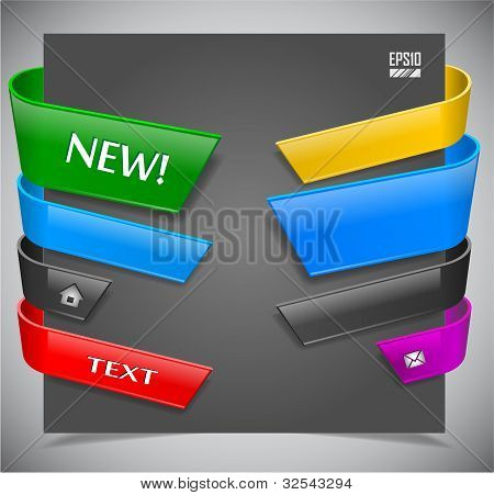 set of color plastic ribbons