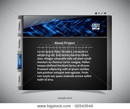 Website Template in den Farben schwarz und blau