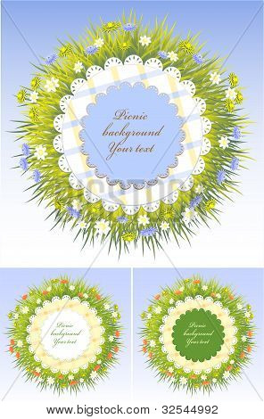Set Picnic frames with grass and flowers