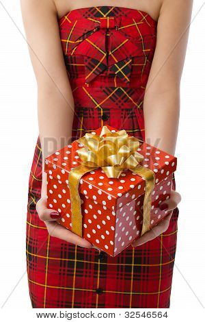 Woman Showing Beautiful Red Gift Box In Closeup On White Background