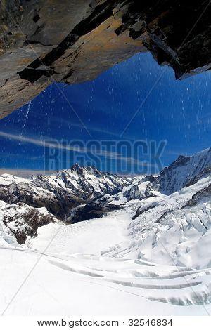Schreckhorn Peak (4078m) and Eismeer Glacier, Berner Oberland, Switzerland - UNESCO Heritage