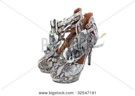 Luxury Snake Leather Women Shoes
