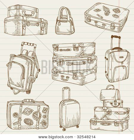 Set of Vintage Suitcases - for design and scrapbook in vector