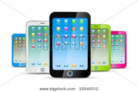 Smartphones on white background. Colorful modern abstract touchphones. Vector. EPS 10. Editable.