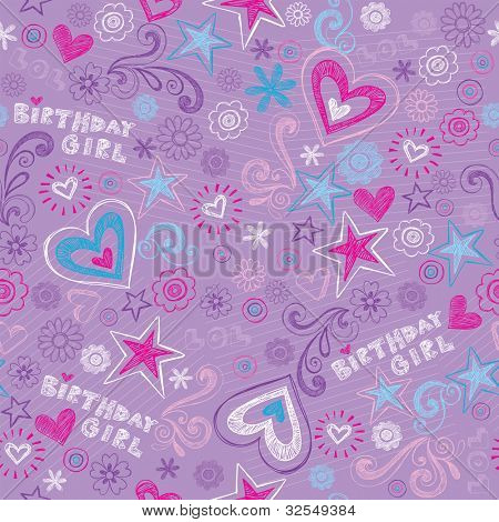 Seamless Birthday Pattern with Hearts and Stars Back to School Style Sketchy Notebook Doodle Design- Hand-Drawn Vector Illustration Background