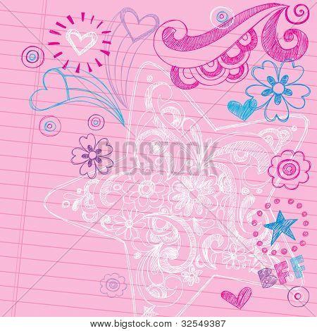 Esboçado Swirly estrela Notebook Doodles - mão-extraídas de volta à escola Design ilustração vetorial de elementos
