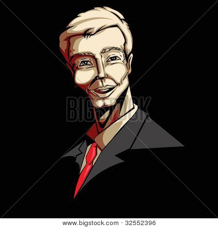 illustration of happy business man in pop art style