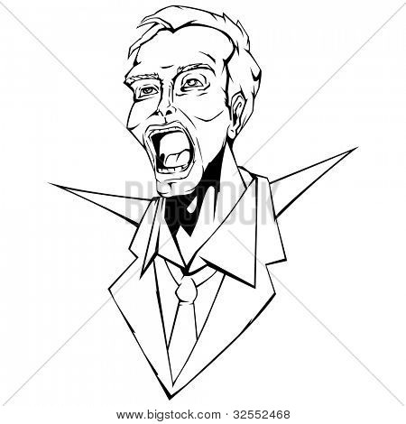 illustration of angry business man in line art style