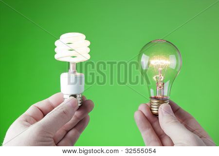 Choice between incandescent and fluorescent light source