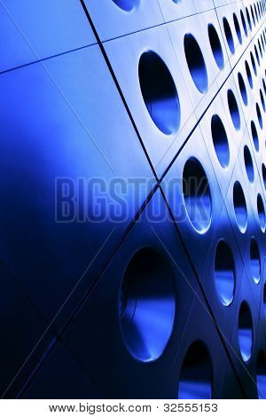 Architectural detail in blue. Modern background with space for text.